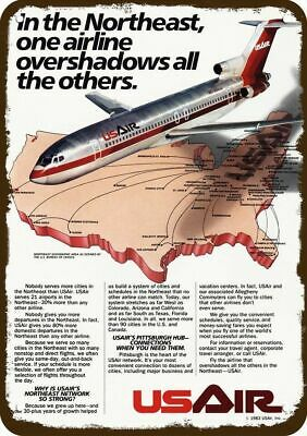 1984 US AIR AIRLINES USAIR Vintage Look Replica Metal Sign - JET FLYS OVER USA