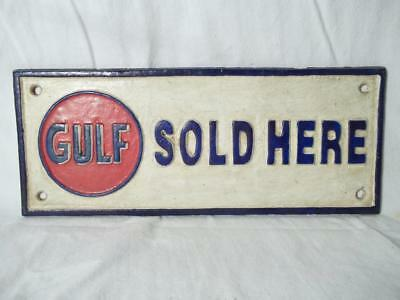 Cast Iron Gulf Sold Here Sign Plaque Gas Oil Collectible Sign Gas Station Sign