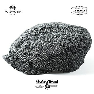 Failsworth Carloway Dark Grey Harris Tweed 8 Panel Peaky Blinders Newsboy Cap