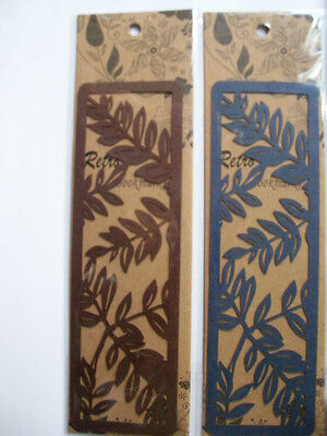 2pc papercutting retro Bookmarks for teacher nurse gifts blue brown color leaves