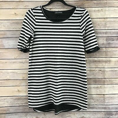 A Pea In The Pod Gray Striped Tunic Top Womens Small Maternity Soft Casual Shirt