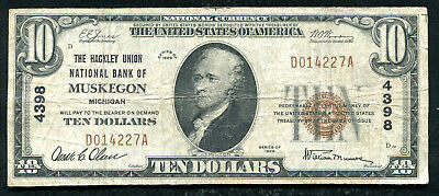 1929 $10 The Hackley Union Nb Of Muskegon, Mi National Currency Ch. #4398