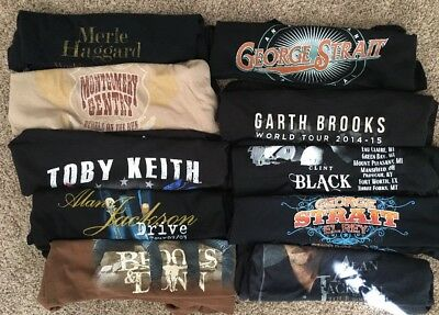 Country Music Concert Shirt Lot (10) All Large Haggard Brooks Dunn Strait Gentry
