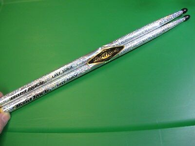 "Hard Rock Cafe HRC 16"" Matching Metallic Silver Flake Drum Sticks / Lake Tahoe"