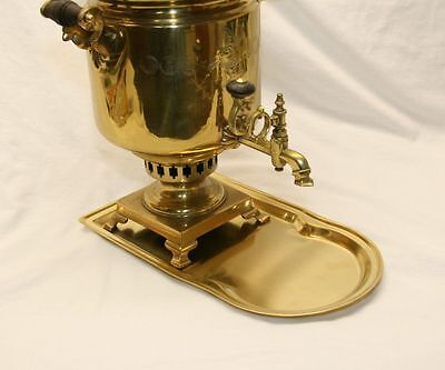 "Brass Tray For Russian Samovar Hand Crafted 14.5 "" Long 8"" Wide"