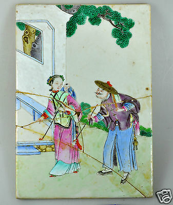 Antique China Chinese Porcelain Famille Rose Tile Painting Qing 19Th C #4