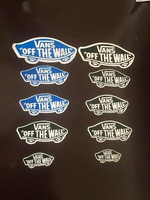 """10 VANS """"OFF THE WALL"""" Skateboarding Stickers NEW Small Med. & Large Blue Black"""