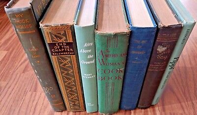 Vintage Old Green Shades Books Lot Of 7 Prop Set Shabby Chic Decor Mid Century