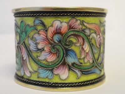 Antique Russian silver 84 cloisonne shaded enamel napkin ring by Vasili Agafanov