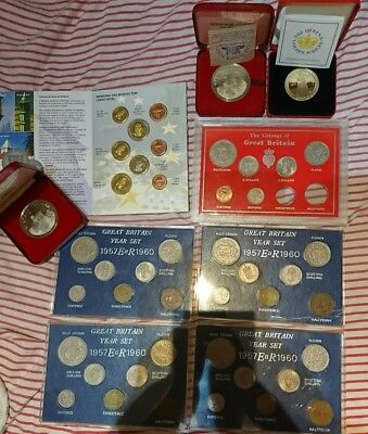 job lot of coins coin sets rare madeira EU euro trial and British nickel silver