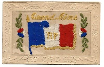 First World War, Silk Embroidered Postcard, (2) From France France, Dear Mother