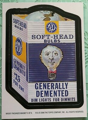 Wacky Packages Topps Card New Series 3 Special Magnet Soft Head Bulbs Dim #5