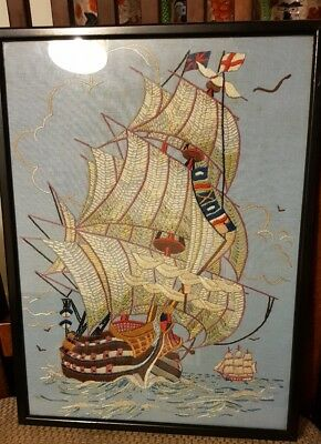Vintage framed Embroidery of a Sailing Ship