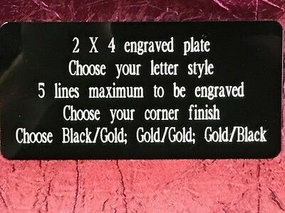 "2""x4"" Engraved Brass Plate, name tag, plaque, trophy, artwork, craft, taxidermy"