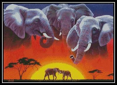Elephant Sunset - Cross Stitch Chart/Pattern/Design/XStitch