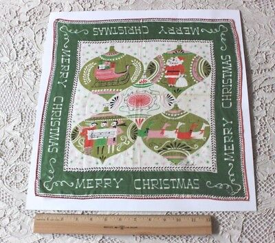 Vintage Cotton Merry Christmas & Holiday Ornaments  Handkerchief c1950