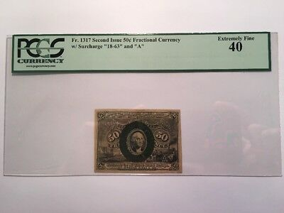1863 50 Cents Fractional Currency Note United States Paper Bill - PCGS EF 40