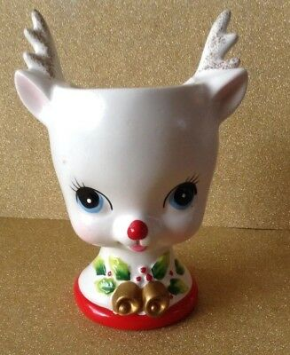 Vintage Kelvin's Planter Ceramic White Reindeer Holiday Christmas Mid Century