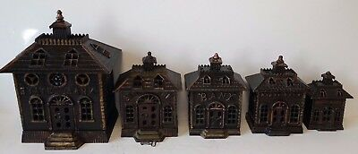 "4 Antique Cast Iron ""STATE BANKS"" by Kenton & Grey Casting Co. c1899"