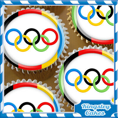 30 X SPAIN SPANISH FLAG ROUND EDIBLE CUPCAKE TOPPERS OLYMPICS RICE PAPER  685
