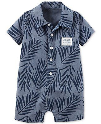 Carter's Baby Boy 18 Months Little Ocean Explorer Romper, Leaf-Print Chambray