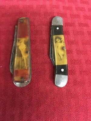 VINTAGE COLONIAL CELLULOID NUDE PINUP GIRL RISQUE FOLDING POCKET KNIFE NICE n6