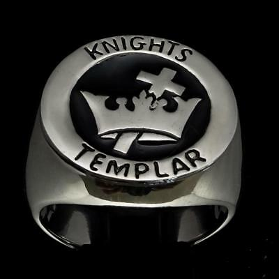 Sterling Silver Mens Ring Templar Knight Cross And Crown Medieval Black Any Size