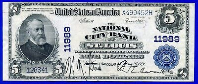 Rare 1902 $5 National Currency (( St. Louis )) # X499452H