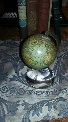 Antique rare unique rand mcnally new 3 inch terrestrial globe with glass base