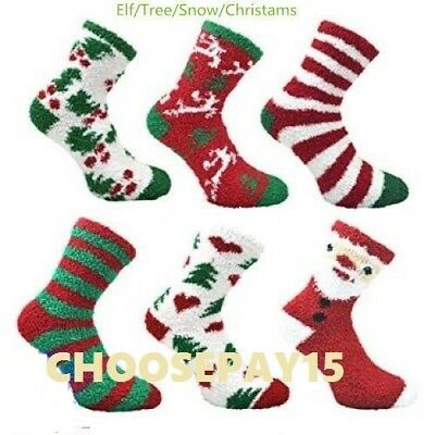 12 PAIR Women/Girls Warm Non-Skid Fluffy Thermal Christmas Bed Socks,Size 4-7
