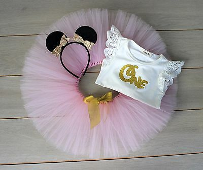 Pink & Gold Minnie Mouse Cake Smash Outfit - 3 Piece 1st Birthday Tutu Set