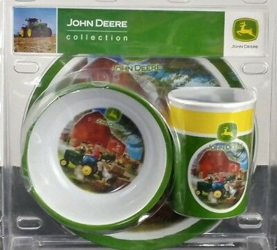 John Deere Melamine Child Dinner Set 3pc 1990 Collection Cup Plate Bowl