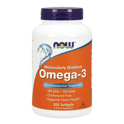 NOW FOODS Omega-3 Molecularly Distilled, Fish Oil 1000mg 180/120 md - 200 softg.