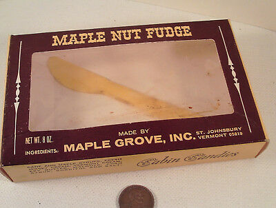 "ORIGINAL 1970's-vintage (Paperboard) ""Vermont MAPLE NUT FUDGE"" (empty) BOX!"