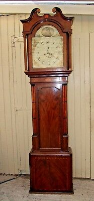 Lovely 19Th Century  Eight Day Long Case  Clock In Mahogany - Nautical Theme