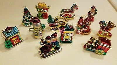 Old Fashioned Blown Glass Christmas Tree Ornaments Lot Of 12