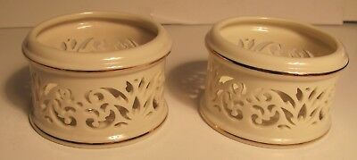 Two Lenox Pierced China Votive Candle Holders Tea Lights Cream