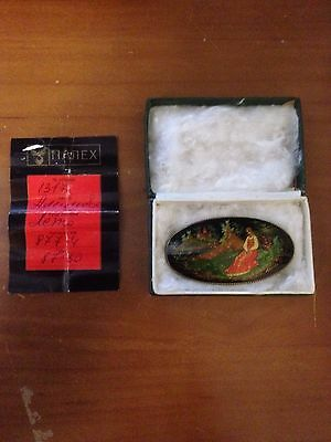Handpainted Signed Russian Lacquer Palekh Brooch Pin 1986
