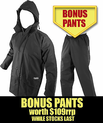 SEAL FLEX BLACK PARKER BREATHABLE WET WEATHER GEAR with BONUS PANTS (wth$109rrp)