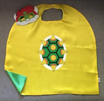 BOWSER From Nintendo Mario Brothers. Superhero Costume Cape And Mask Party Set.
