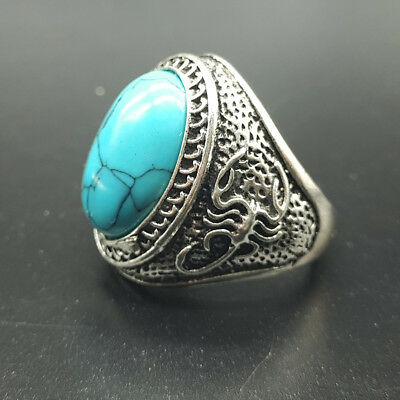 Chinese Hand carved Scorpion Tibetan Silver Turquoise Ring