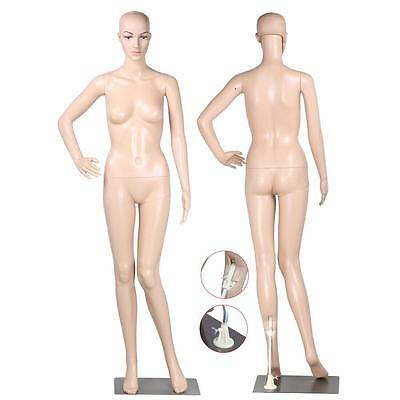 Female Mannequin Plastic Realistic Display Head Turns Dress Form w/ Base New US