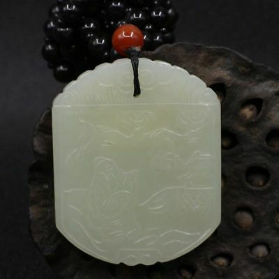 Chinese Exquisite Hand-carved landscape character carving Hetian jade Pendant