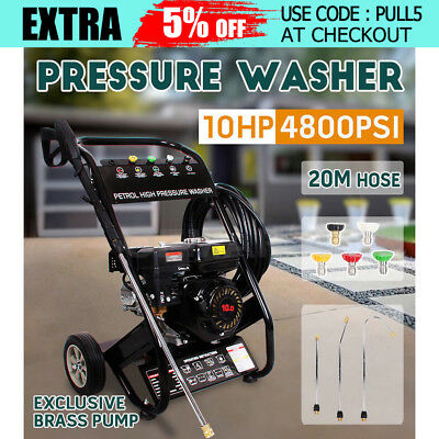 10HP 4800PSI High Pressure Washer Petrol Water Pump Cleaner Gurney 20M BLACK New