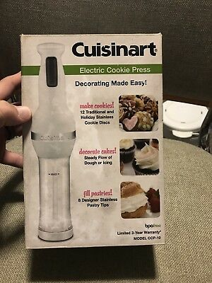 Cuisinart Electric Cookie Press Stainless Discs and Pastry Tips Model CCP-10