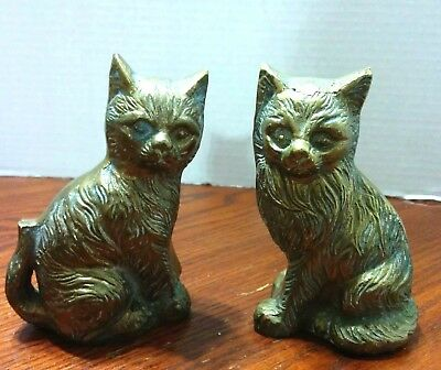 Vintage Pair of Solid Brass Cats Figurines Heavy Long Hair Fine Detail