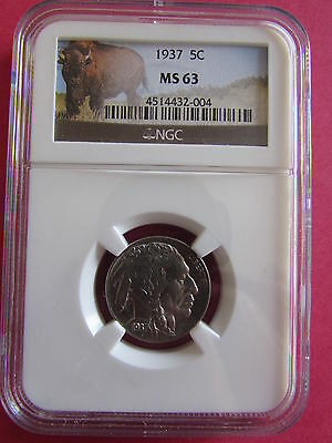 1937 Buffalo Nickel NGC MS 63 Philadelphia Mint Uncirculated 5 Cent Bison Coin