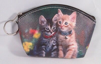 Grey & Gold Tiger Stripe Cats Kittens With Flowers Zipper Coin Purse Key Chain