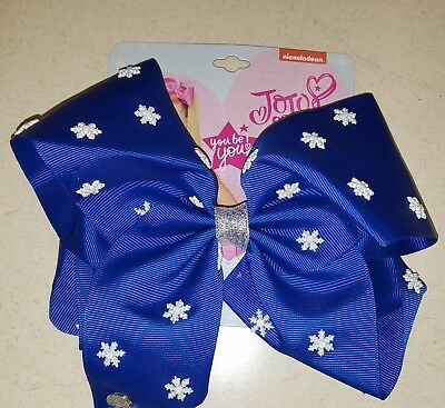 New JoJo Siwa Signature Large Hair Bow Snowflake Holiday Bow