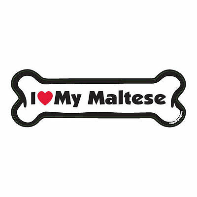 I Love My Maltese Dog Bone Car Magnet